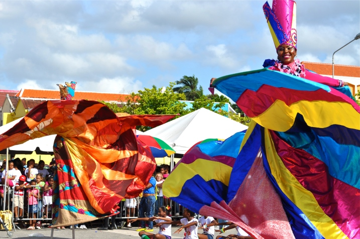 Dancers on Stilts Perform for Sinterklaas in Curacao