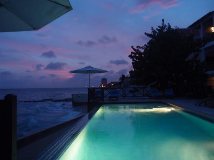 The infinity pool at the Scuba Lodge and Suites at Sundown.