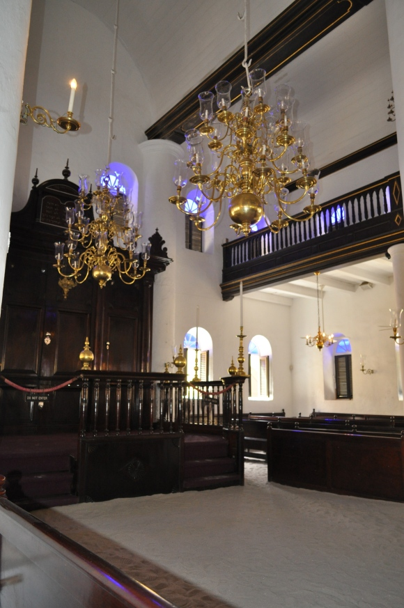 Inside Mikve Israel's Synagogue in Curacao, the oldest synagogue still in use in the Western Hemisphere